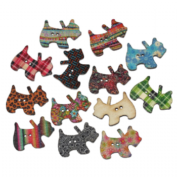 10 Wooden Patterned Scottie dog Buttons